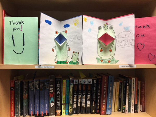homemade thank you cards on a shelf
